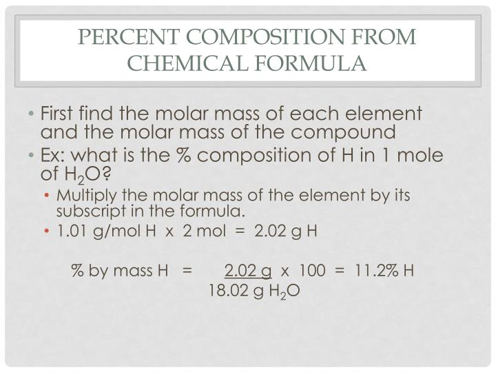 Percent Composition from Chemical Formula
