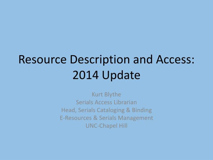 resource description and access 2014 update n.