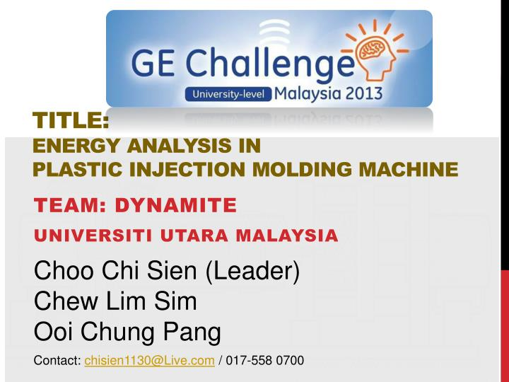PPT - TITLE: Energy analysis in Plastic Injection Molding MACHINE