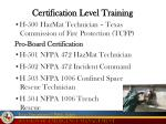 certification level training