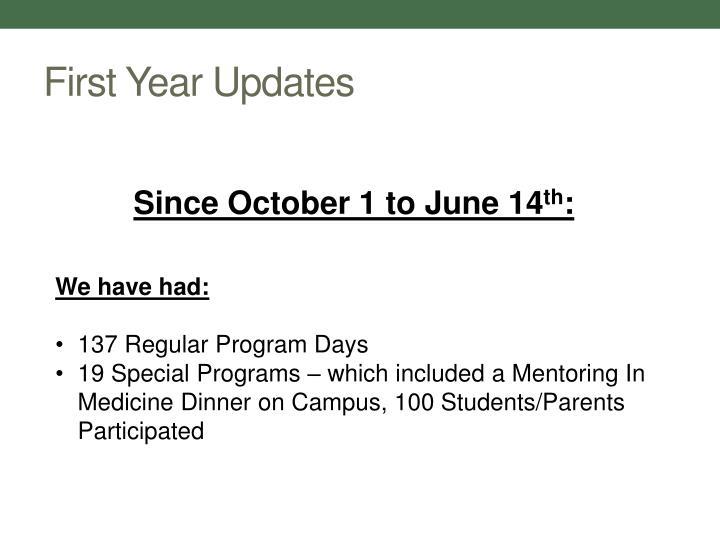 First Year Updates