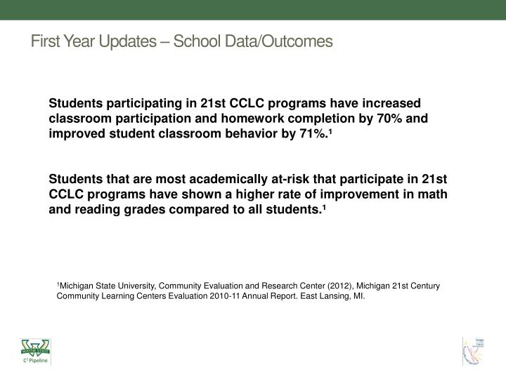First Year Updates – School Data/Outcomes