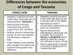 differences between the economies of congo and tanzania