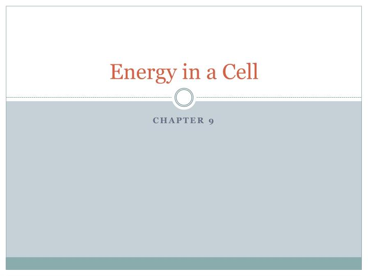 Energy In A Cell Chapter 9