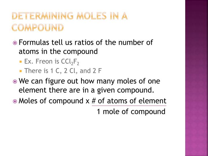 Determining moles in a compound