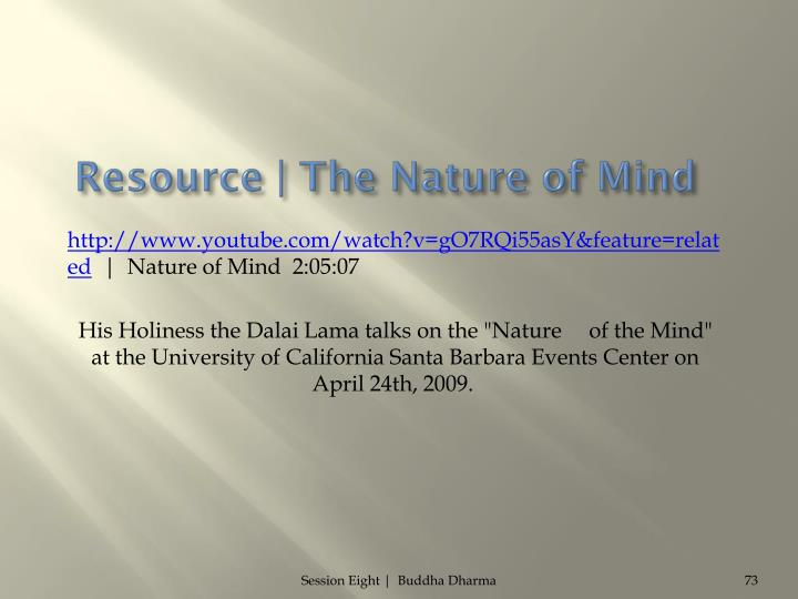 Resource | The Nature of Mind