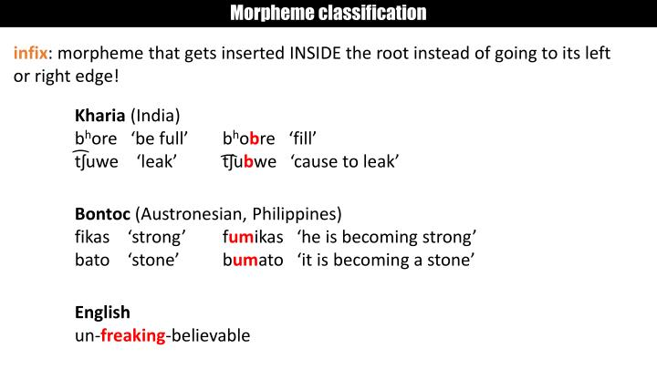 Morpheme classification