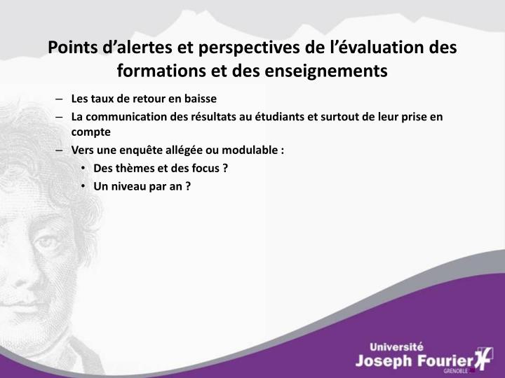 Points d'alertes et perspectives de l'évaluation des formations et des enseignements
