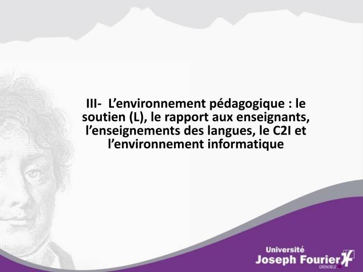 III-  L'environnement pédagogique : le soutien (L), le rapport aux enseignants, l'enseignements des langues, le C2I et l'environnement informatique