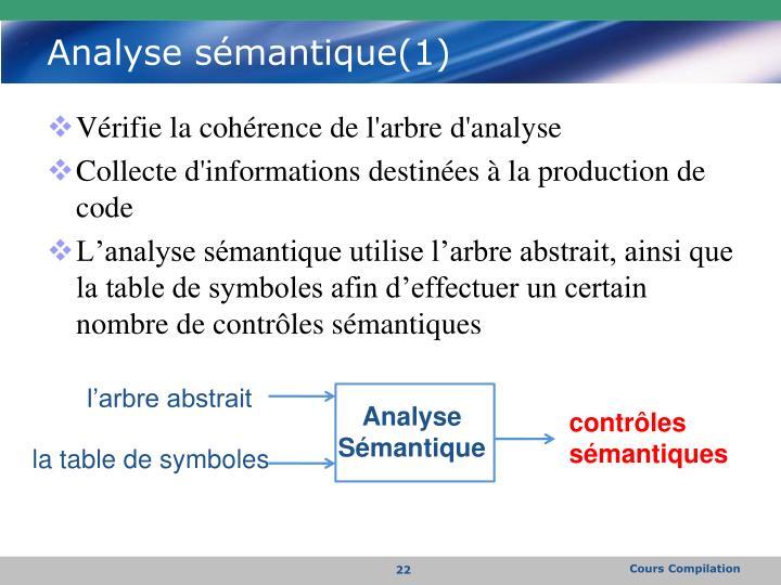 Analyse sémantique(1)