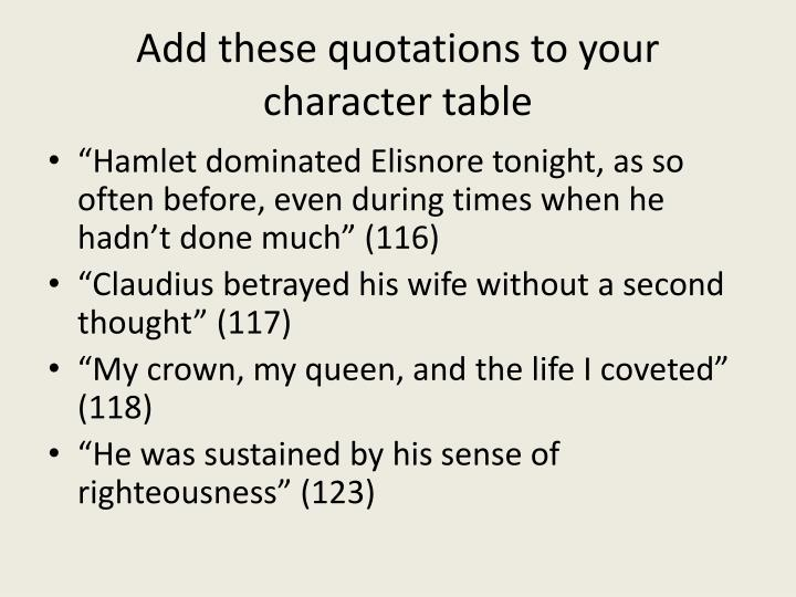 Add these quotations to your character table