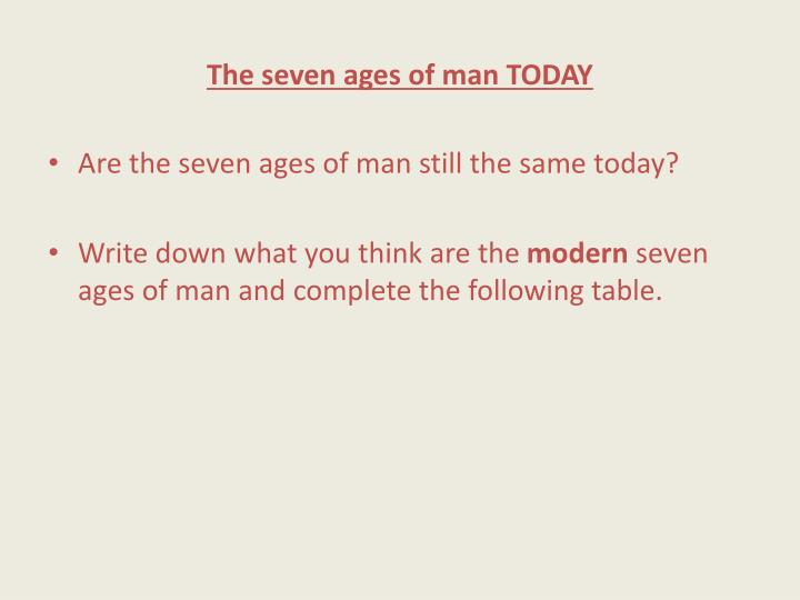 The seven ages of man TODAY