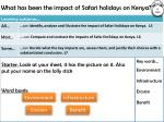 what has been the impact of safari holidays on kenya