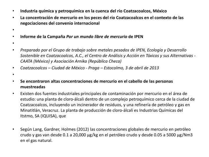 Industria química y petroquímica en la cuenca del río Coatzacoalcos, México
