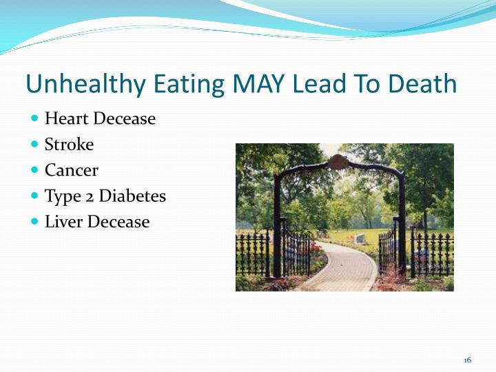 Unhealthy Eating MAY Lead To Death