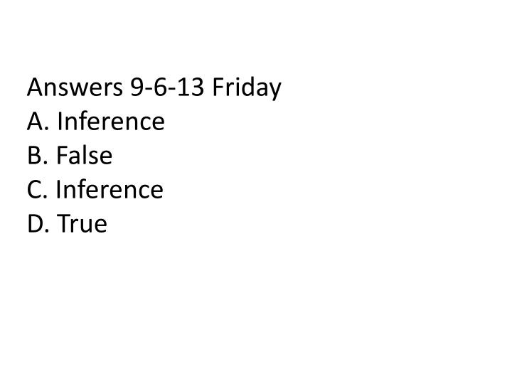 Answers 9-6-13 Friday