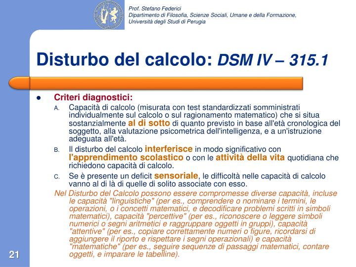 Disturbo del calcolo: