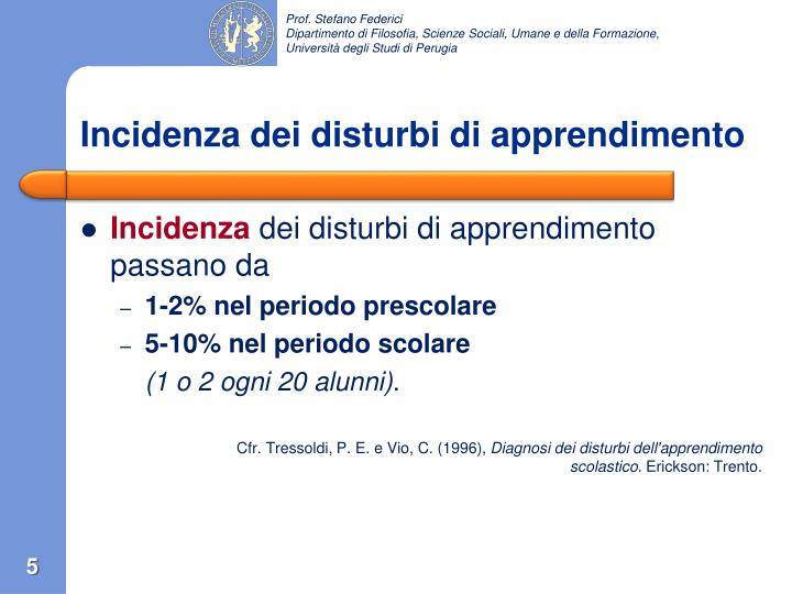 Incidenza dei disturbi di apprendimento