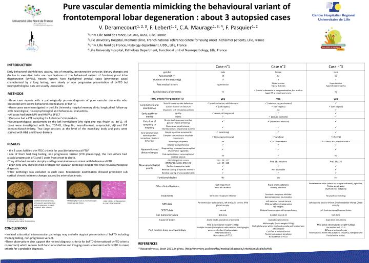 Pure vascular dementia mimicking the behavioural variant of frontotemporal lobar degeneration : abou...