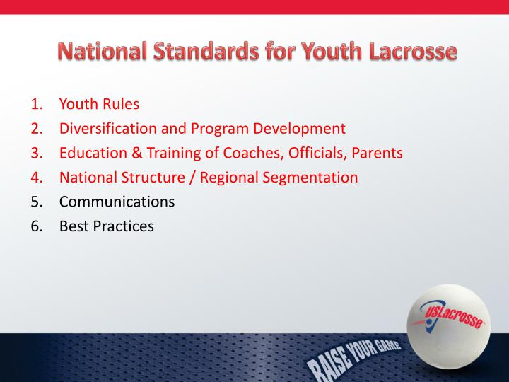 National Standards for Youth Lacrosse