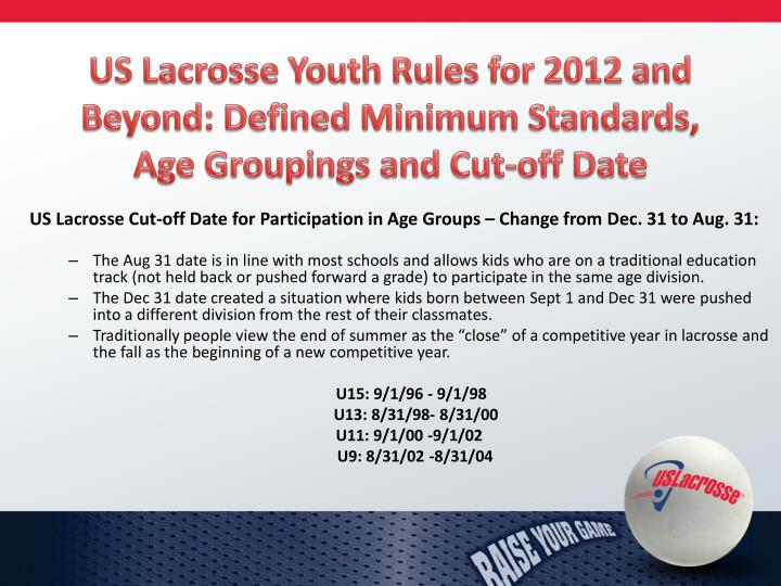 US Lacrosse Youth Rules for 2012 and Beyond: Defined Minimum Standards, Age Groupings and Cut-off Date