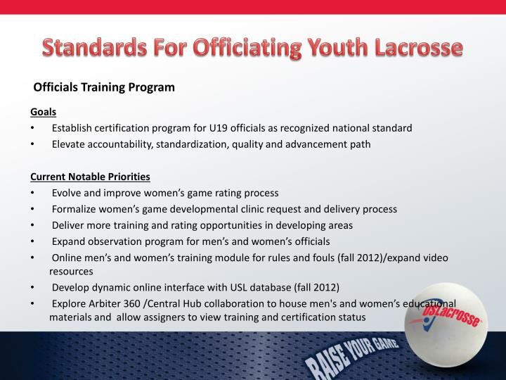 Standards For Officiating Youth