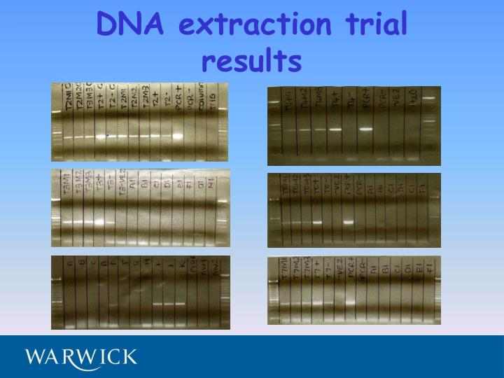 DNA extraction trial results