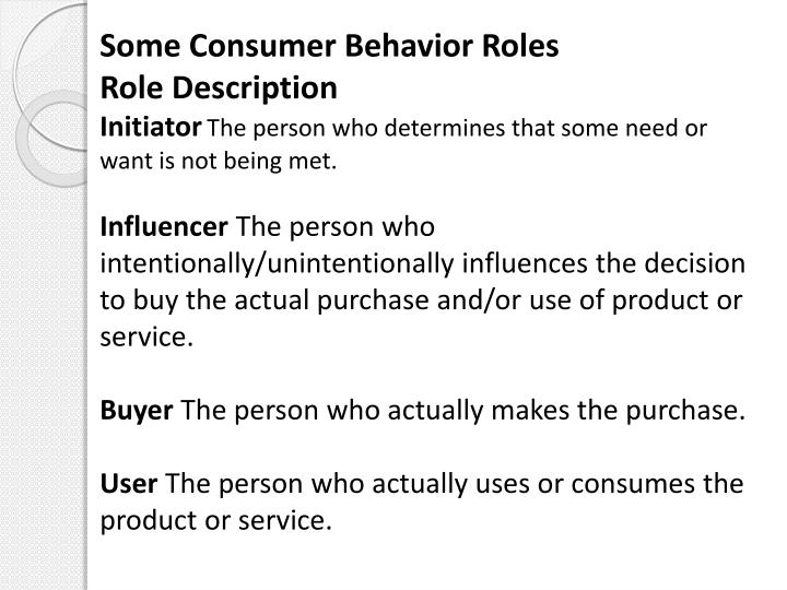the role of consumer behavior and products Personality to understand a buyer needs and convert them into customers is the main purpose of the consumer behavior study to understand the buyer habits and his priorities, it is required to understand and know the personality of the buyer.