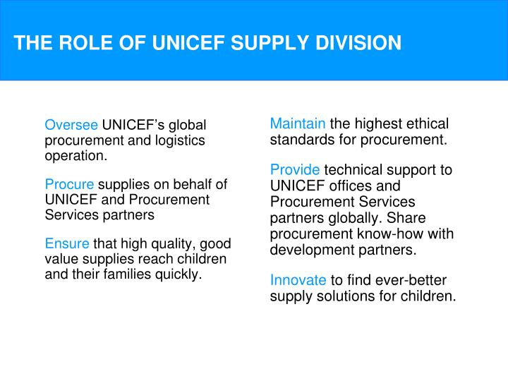 The role of unicef supply division