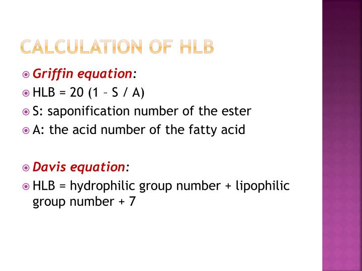 Calculation of HLB