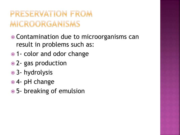 Preservation from microorganisms
