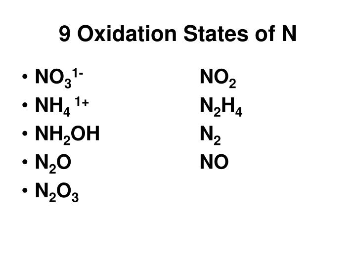 9 Oxidation States of N