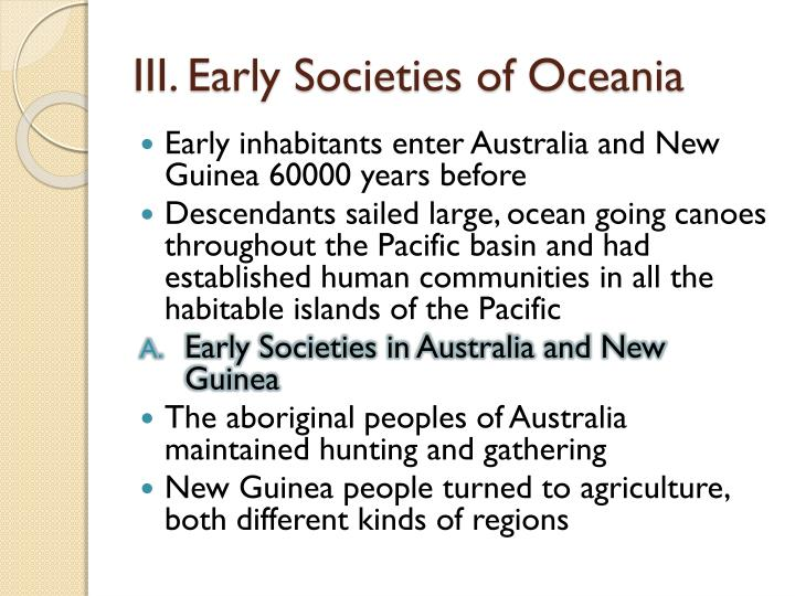 III. Early Societies of Oceania