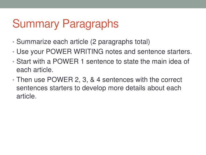 Summary Paragraphs