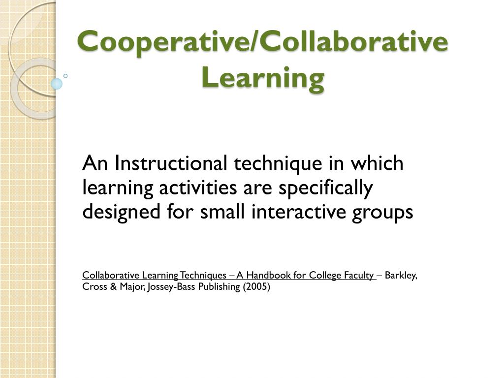 cooperative collaborative learning n.