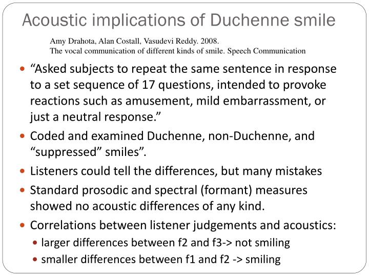 Acoustic implications of Duchenne smile