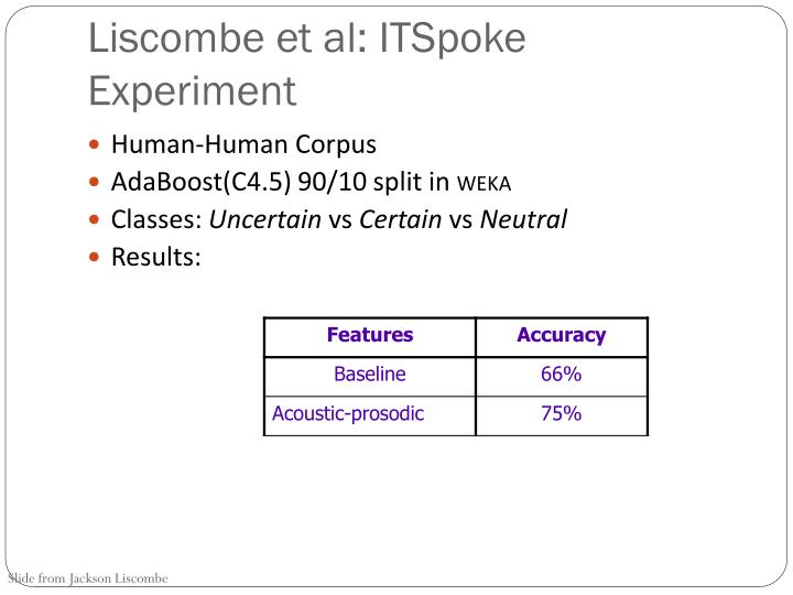 Liscombe et al: ITSpoke Experiment