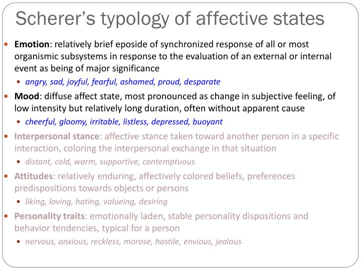 Scherer s typology of affective states1