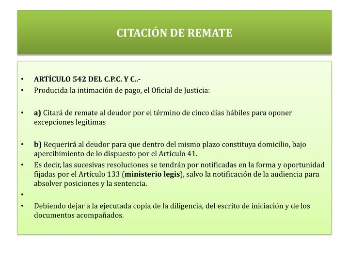 CITACIÓN DE REMATE
