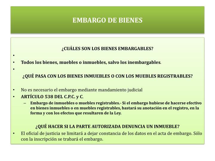 EMBARGO DE BIENES