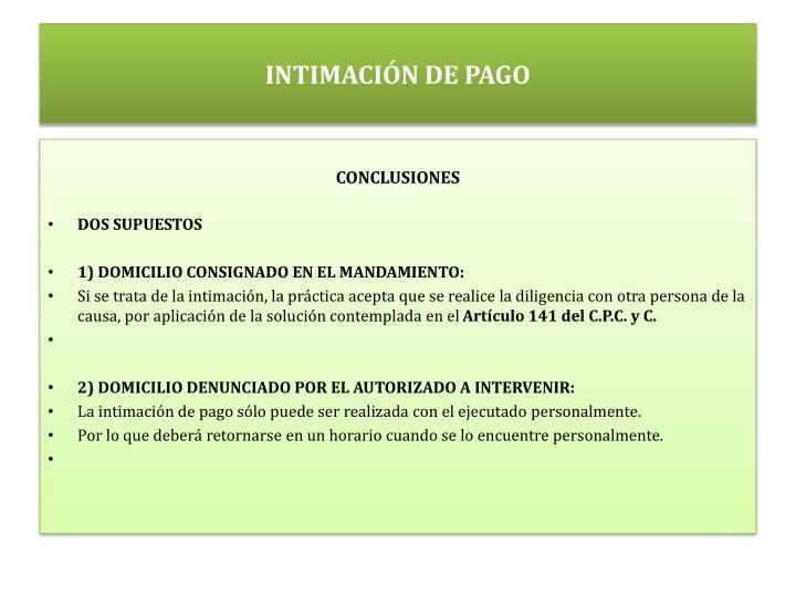 INTIMACIÓN DE PAGO