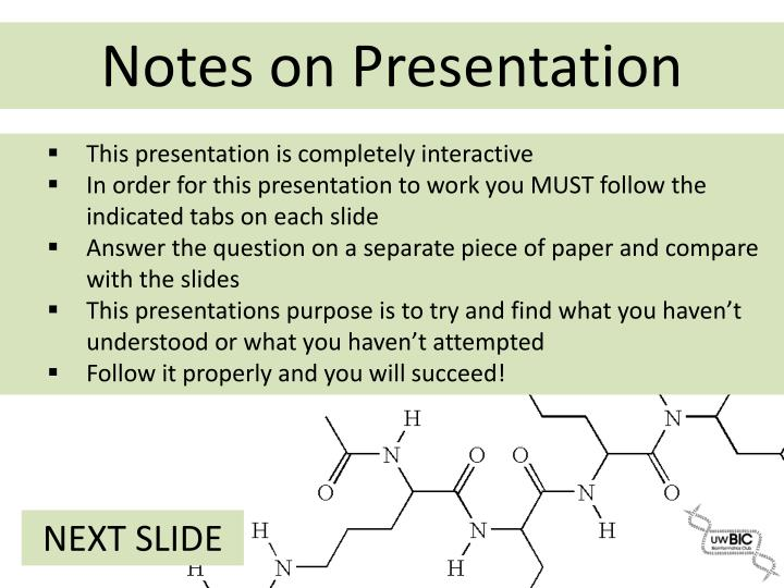 Notes on presentation
