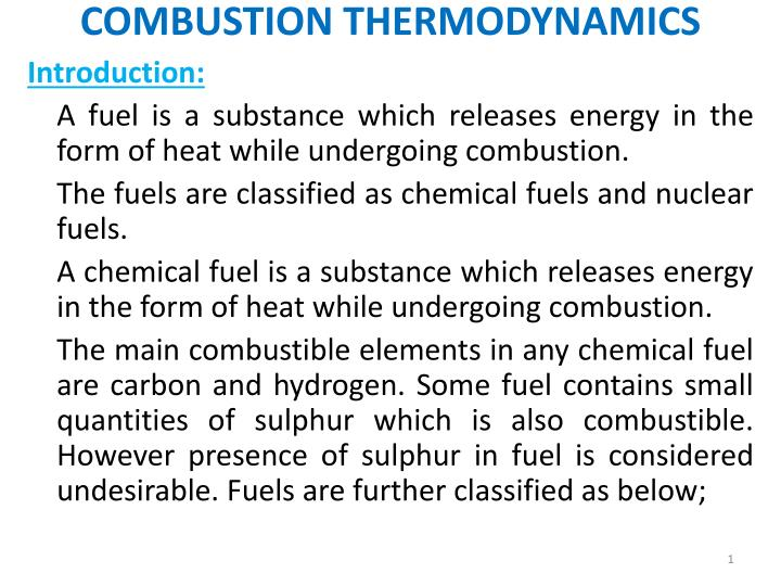 combustion thermodynamics n.