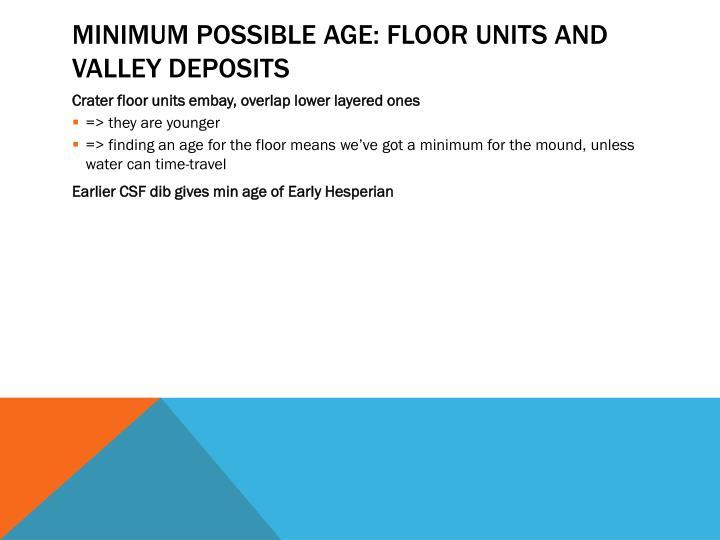 Minimum Possible age: Floor Units