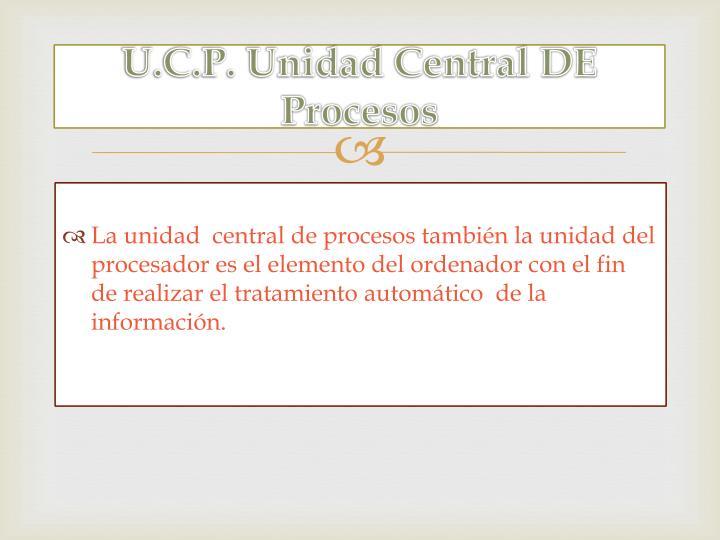 U.C.P. Unidad Central DE Procesos