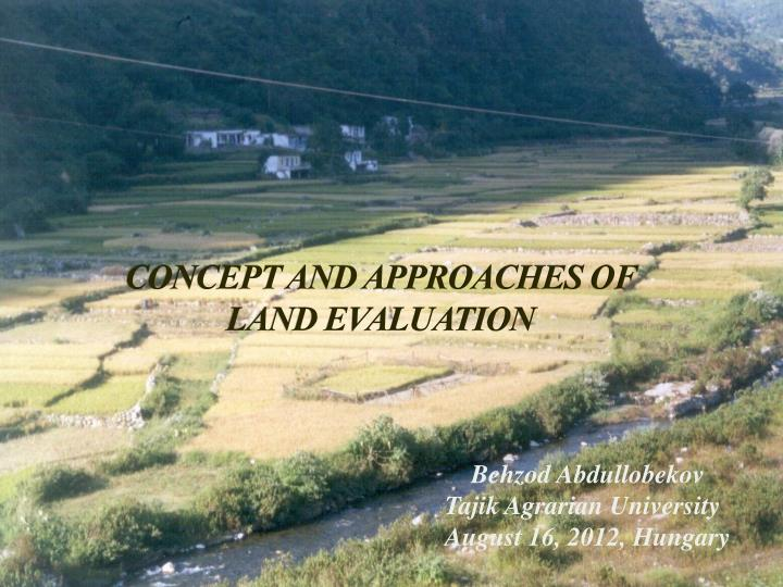 concept and approaches of land evaluation n.