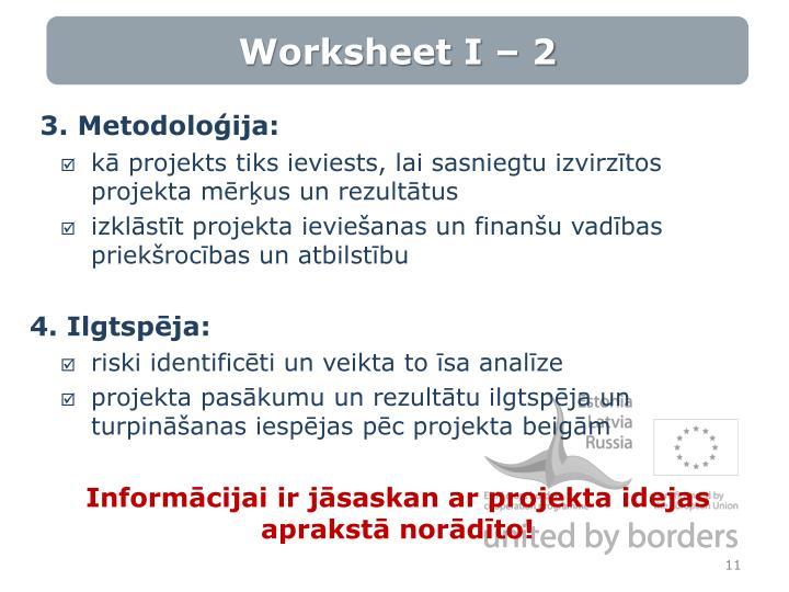 Worksheet I – 2
