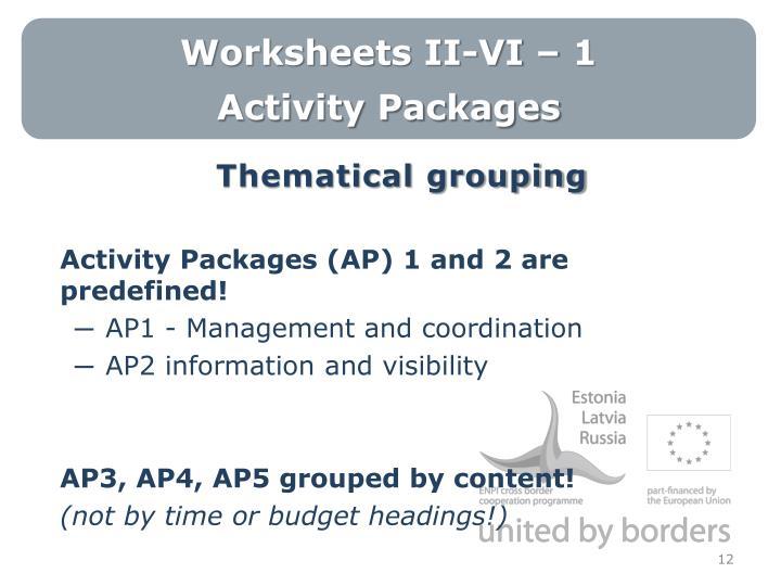 Worksheets II-VI – 1