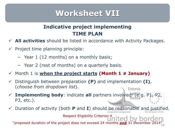 Worksheet VII