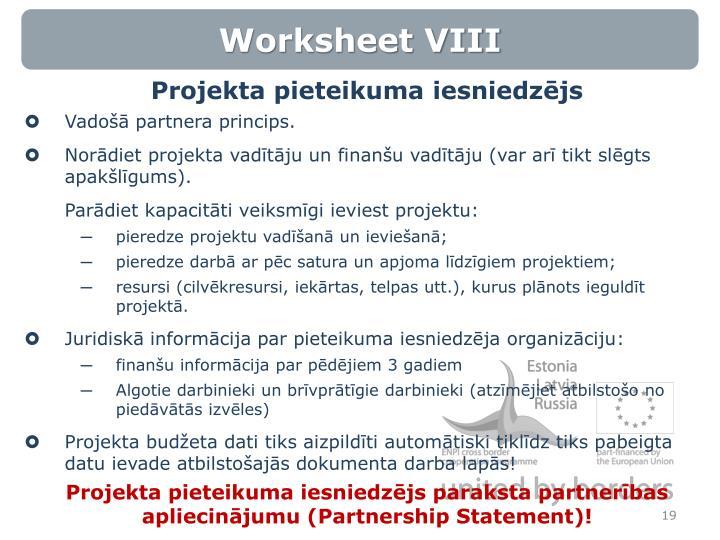 Worksheet VIII